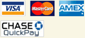 Visa, MasterCard, American Express, Chase QuickPay payment accepted by Classic Wedding Car