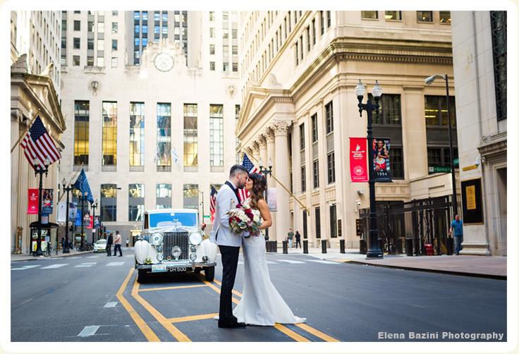 Downtown Chicago Street View Of Elegant Wedding Rental Car