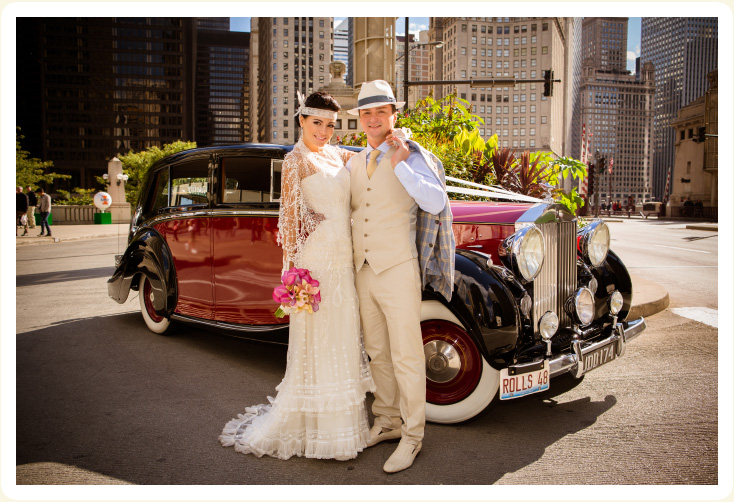 1948 wedding photos taken in downtown Chicago of 1948 Rolls Royce