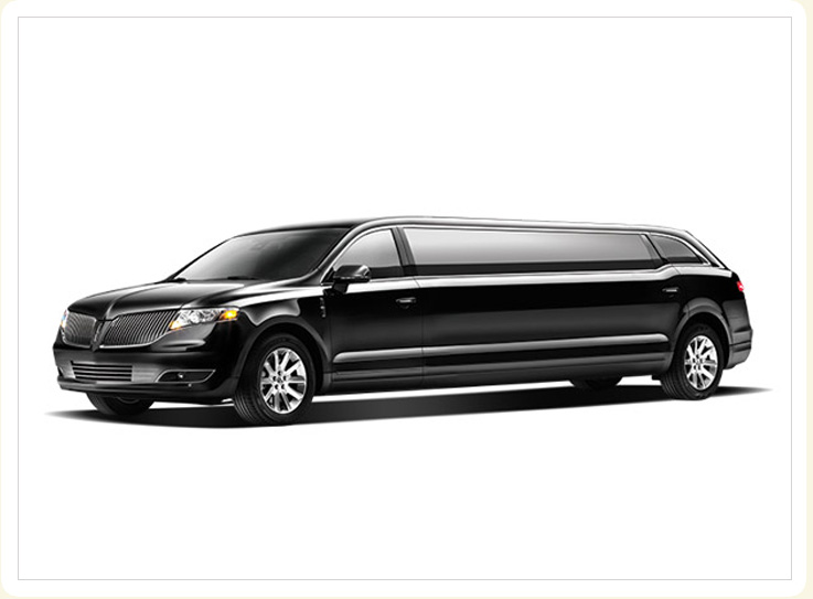 Exterior photo side view of 8 passenger MKT limousine, Classic Wedding Cars Chicago