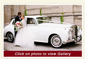 photo 1962 Silver Cloud Rolls Royce rental wedding vehicle at Rockeffer Chapel Chicago