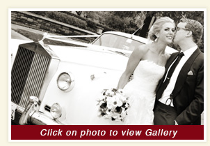 Luxury white rolls royce wedding rental car at Kenilworth Union church, Kenilworth, Illinos