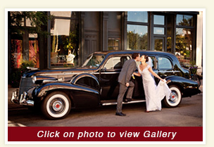 thumbnail for Craig and Snow wedding in 1940 Black Cadillac wedding Chicago rental vehicle