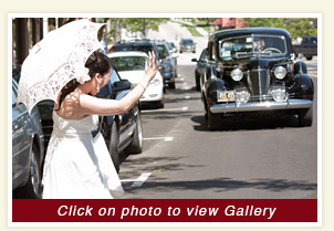 thumbnail for Ruth and Gerber wedding in rental 1940 black Cadillac Limousine
