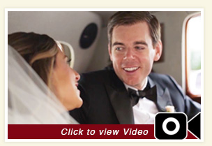 thumbnail for Michelle and Kevin wedding inside white Bentley rental car