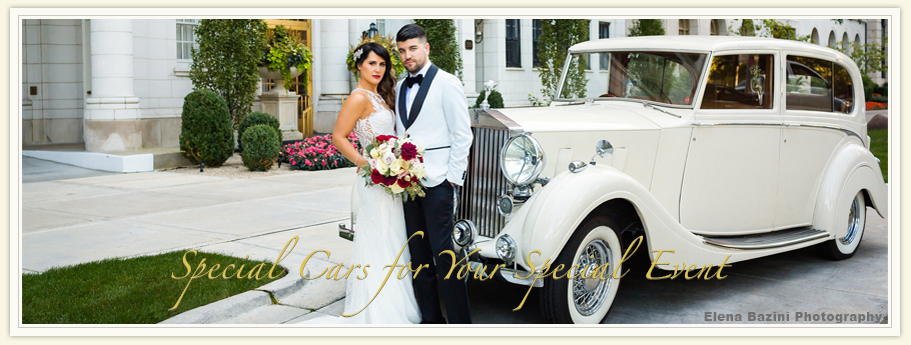 vintage Classic Wedding Car rentals for weddings, 1936 The Duchess white Classic Wedding Car rental wedding transportation, Drake Hotel Chicago, Illinois